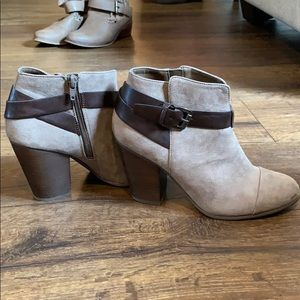 Tan suede with brown leather strap heals!